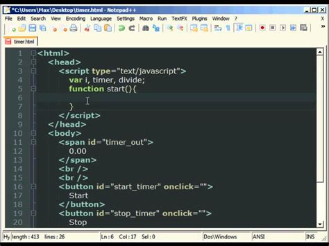 JavaScript Tutorial - Timers - Making a Stopwatch - YouTube